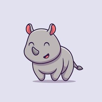 Lindo rinoceronte sonriendo dibujos animados vector icono ilustración