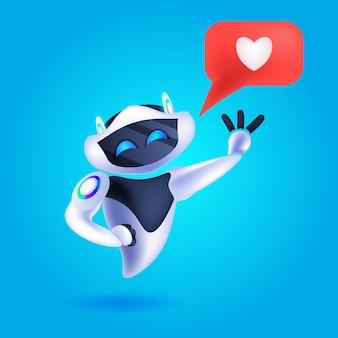 Lindo robot cyborg con redes sociales como icono moderno personaje robótico inteligencia artificial tecnología concepto vector ilustración