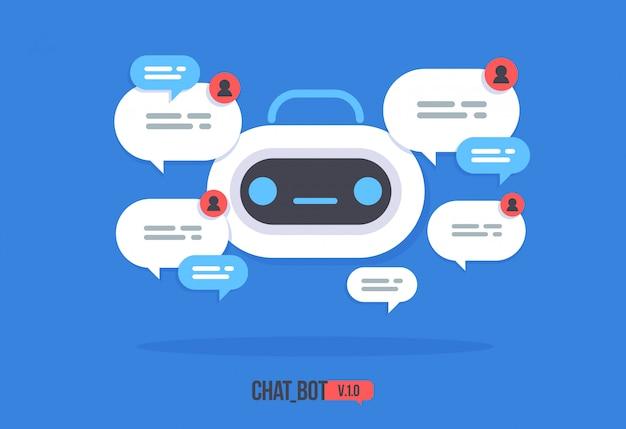 Lindo robot con globo de diálogo servicio de soporte chat bot vector moderno personaje de dibujos animados plano smart chat helper.