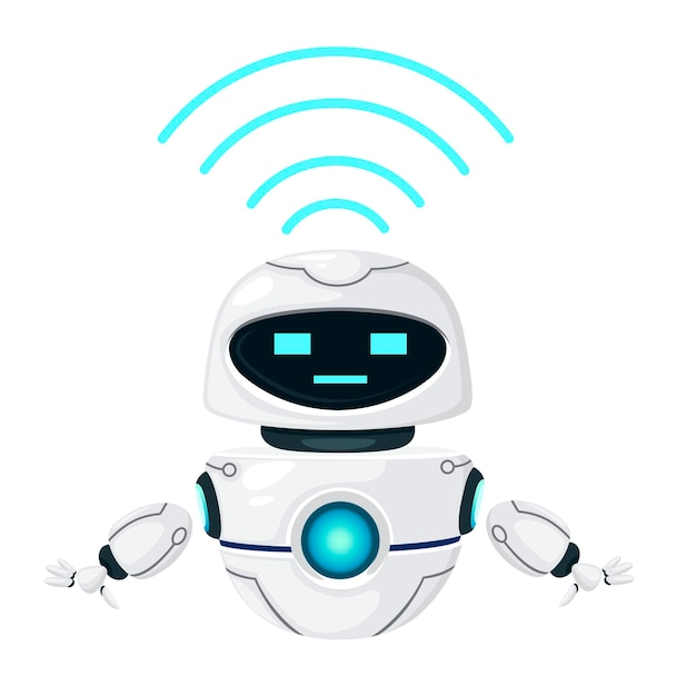 Lindo robot levitante moderno blanco con ilustración de vector plano de módulo wi-fi aislado sobre fondo blanco.