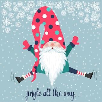 Lindo salto de gnomo. tarjeta de navidad. diseño plano.