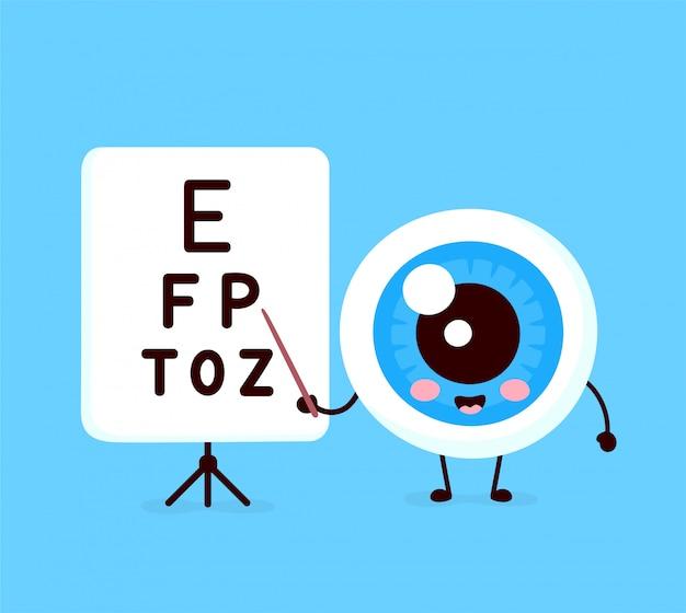 Lindo y saludable órgano de globo ocular humano feliz apunta a la mesa para probar el carácter de agudeza visual.