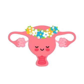 Lindo sano feliz útero humano órgano en guirnalda de flores personaje. diseño de ilustración de dibujos animados plano de vector. aislado en blanco concepto de personaje útero