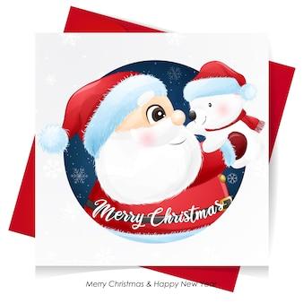 Lindo santa claus abrazando a un osito para navidad con tarjeta de acuarela