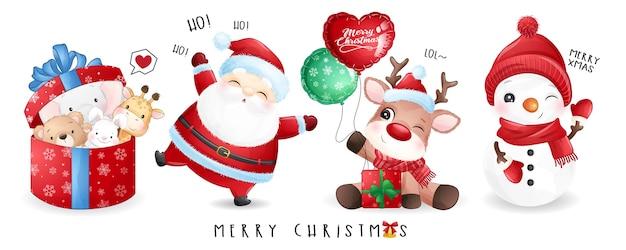 Lindo santa claus y amigos para el día de navidad con banner de acuarela