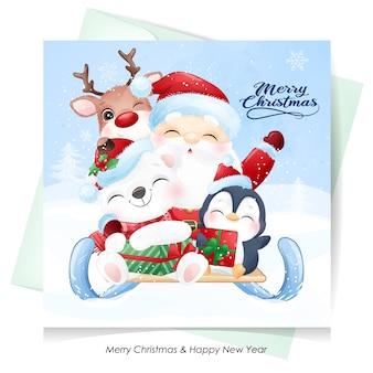 Lindo santa claus y amigos para el día de navidad con tarjeta de acuarela