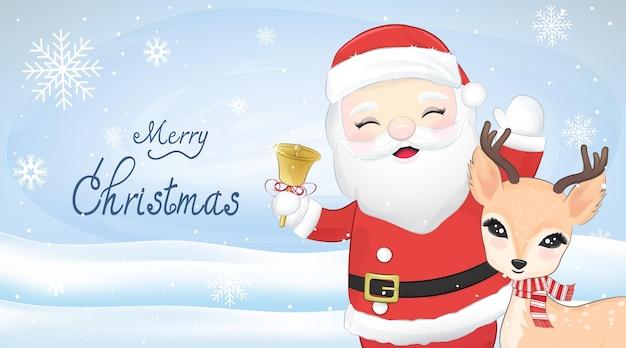 Lindo santa claus y ciervos, ilustración acuarela de temporada navideña.