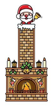 Lindo santa claus entra en la chimenea