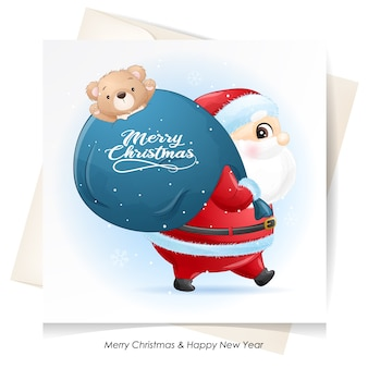 Lindo santa claus para navidad con tarjeta de acuarela