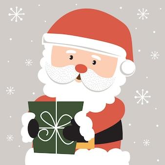Lindo santa claus con regalo de navidad, ilustración