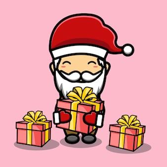 Lindo, santa claus, con, regalos, mascota, caricatura