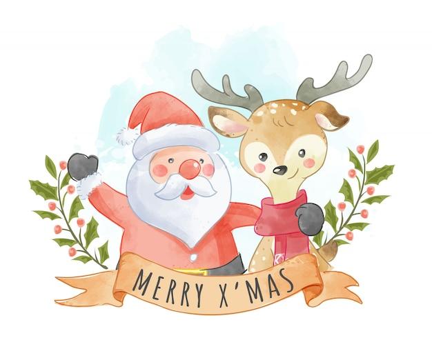 Lindo santa claus y renos con cartel de navidad