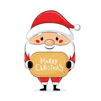 Lindo santa claus con tarjeta de navidad. feliz navidad diseño.
