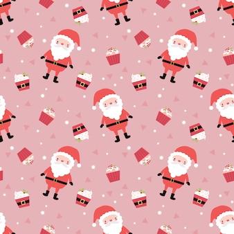 Lindo santa y cupcake en patrón transparente de tema de navidad