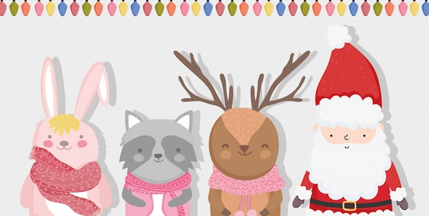 Lindo santa, reno, mapache y conejito