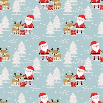 Lindo santa y renos en patrones sin fisuras de tema de invierno de navidad