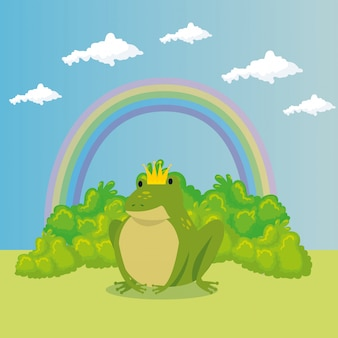 Lindo sapo con arco iris en escena de cuento de hadas