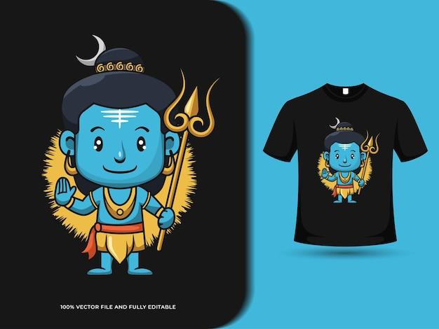 Lindo señor shiva con ilustración de dibujos animados de varita mágica con plantilla de diseño de camiseta