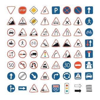 Lindo set con colección de señales de tráfico y semáforos