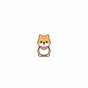 Lindo shiba inu cachorro icono de dibujos animados