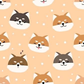 Lindo shiba inu perro de dibujos animados doodle de patrones sin fisuras