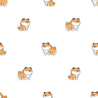 Lindo shiba inu perro de dibujos animados de patrones sin fisuras