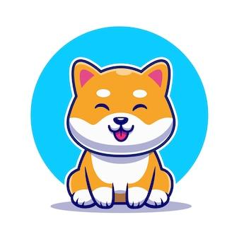Lindo, shiba inu, perro, sentado, caricatura