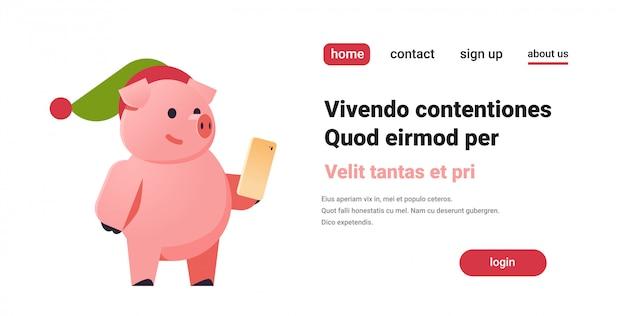 Lindo símbolo de cerdo del año nuevo chino 2019 con teléfono inteligente