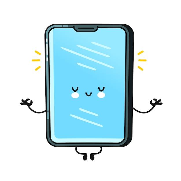 Lindo smartphone feliz, personaje de teléfono móvil meditar
