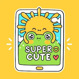 Lindo sol divertido abraza a la rana en el teléfono inteligente