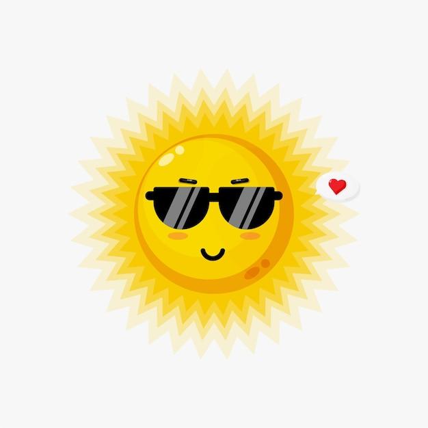 Lindo sol con gafas aislado en blanco