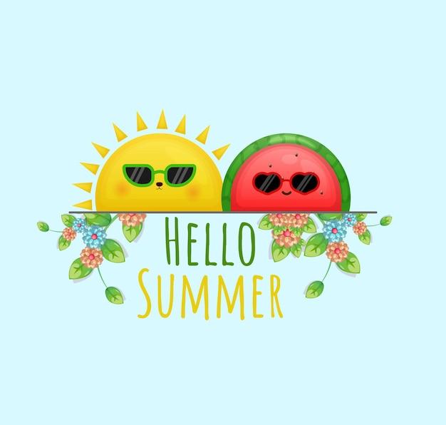Lindo sol y sandía con hola tarjeta de felicitación de verano con personaje de dibujos animados