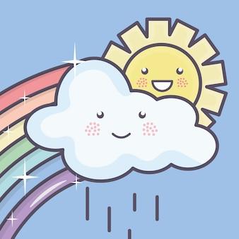 Lindo sol de verano y nubes lluviosas con personajes de kawaii de arco iris