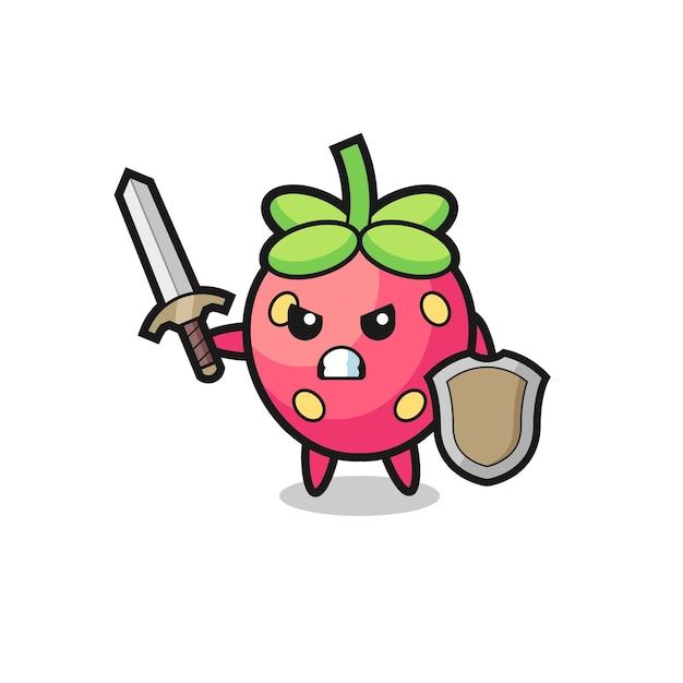 Lindo soldado de fresa peleando con espada y escudo, diseño de estilo lindo para camiseta, pegatina, elemento de logotipo