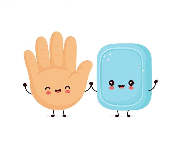 Lindo sonriente feliz mano humana y jabón.
