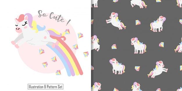 Lindo sueño unicornio arco iris tarjeta mano dibujada conjunto de patrones sin fisuras