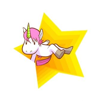 Lindo super estrella de unicornio de fondo