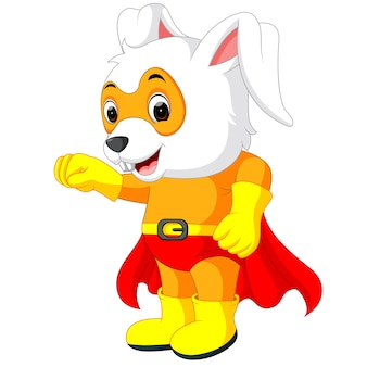 Un lindo superhéroe de dibujos animados conejo de pascua