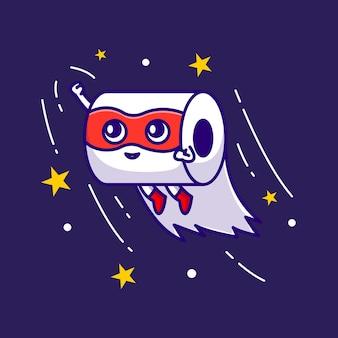 Lindo superhéroe tejido mascota ilustración vector icono de dibujos animados