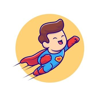 Lindo superhéroe volando ilustración de dibujos animados. concepto de icono de profesión de personas