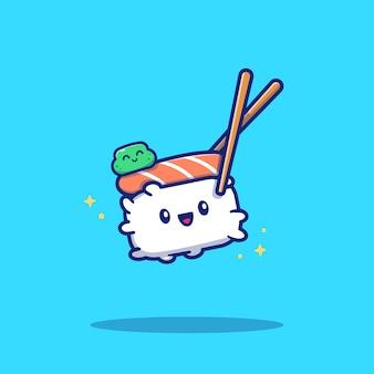 Lindo sushi con palillos de dibujos animados icono ilustración. concepto de icono de comida de sushi aislado. estilo plano de dibujos animados