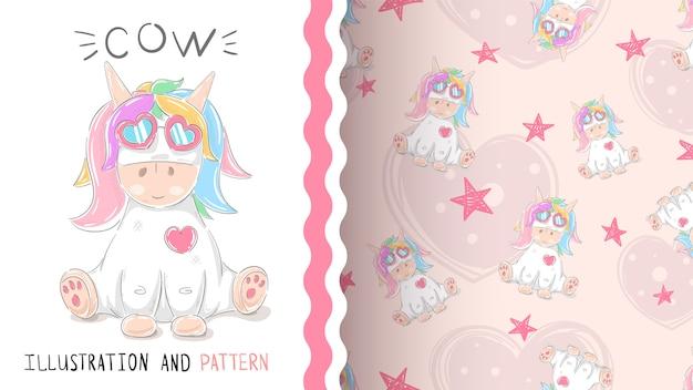 Lindo teddy unicornio- patrón sin costuras