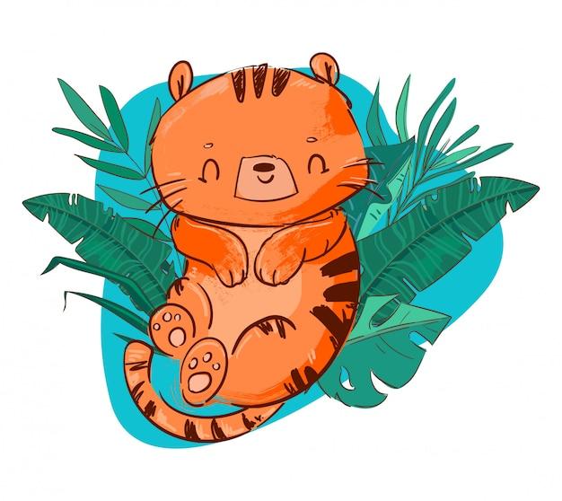 Lindo tigre alegre divertido con ilustración de hojas tropicales.