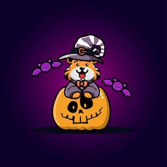 Lindo tigre con dibujos animados de calabaza de halloween