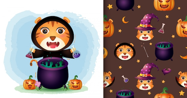 Un lindo tigre con disfraz de bruja colección de personajes de halloween. diseños de patrones e ilustraciones sin costuras
