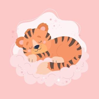 Lindo tigre durmiendo en la nube. ilustración de concepto de animal bebé para guardería, personaje para niños