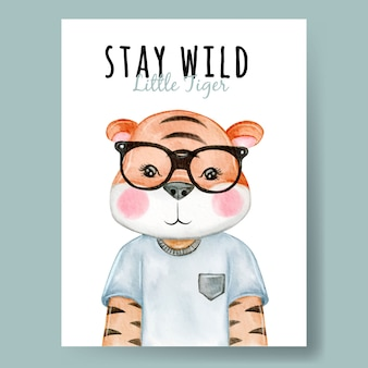 Lindo tigre con gafas acuarela ilustración infantil