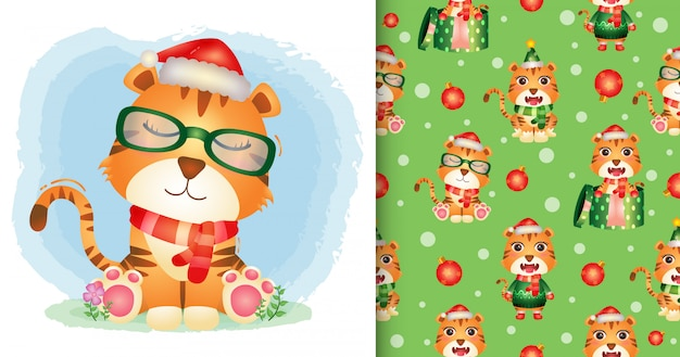 Un lindo tigre personajes navideños con gorro de santa y bufanda. diseños de patrones e ilustraciones sin costuras