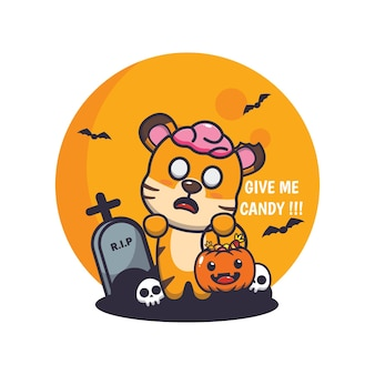 Lindo tigre zombie quiere dulces linda ilustración de dibujos animados de halloween