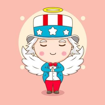 Lindo tío sam como un ángel con alas e ilustración de personaje de dibujos animados de halo
